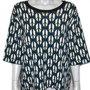 {rachel by rachel roy} teal patterned blouse